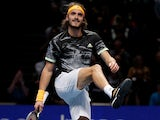 Stefanos Tsitsipas in action on November 16, 2019