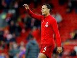 Virgil van Dijk warms up for Liverpool on November 10, 2019