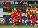 Wales' Harry Wilson celebrates scoring their second goal with team mates on November 16, 2019