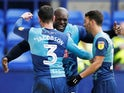 Wycombe Wanderers' Adebayo Akinfenwa celebrates scoring their first goal on November 17, 2019