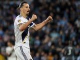 LA Galaxy forward Zlatan Ibrahimovic (9) celebrates following the game against Minnesota United at Allianz Field pictured in October 2019