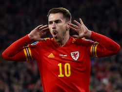 Aaron Ramsey celebrates scoring for Wales on November 19, 2019