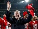 Denmark coach Age Hareide celebrates reaching Euro 2020 on November 18, 2019