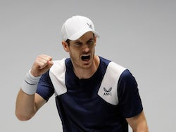Andy Murray celebrates winning his Davis Cup match on November 20, 2019