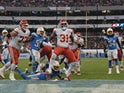 Kansas City Chiefs running back Darrel Williams (31) celebrates after scoring on a 6-yard touchdown run in the third quarter against the Los Angeles Chargers during an NFL International Series game at Estadio Azteca on November 19, 2019