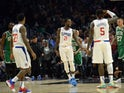 Los Angeles Clippers guard Patrick Beverley (21) reacts after shooting a three point basket against the Boston Celtics with forward Montrezl Harrell (5) and guard Lou Williams (23) during overtime at Staples Center on November 21, 2019