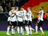 Germany's Serge Gnabry celebrates scoring their third goal with teammates on November 19, 2019