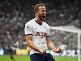 Harry Kane celebrates scoring Tottenham Hotspur's third goal against West Ham United on November 23, 2019.
