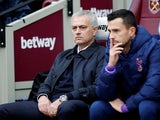 Tottenham Hotspur boss Jose Mourinho on the bench in the Premier League fixture against West Ham United on November 23, 2019.