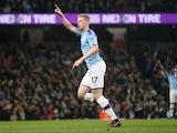 Manchester City's Kevin De Bruyne celebrates scoring their first goal on November 23, 2019