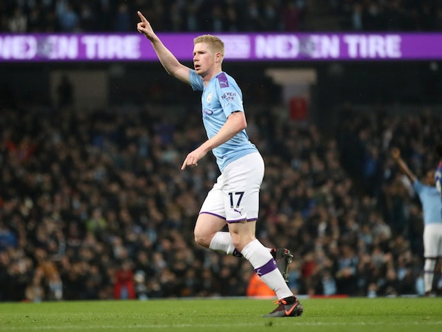 Manchester City's Kevin De Bruyne celebrates scoring their first goal on November 23, 2019