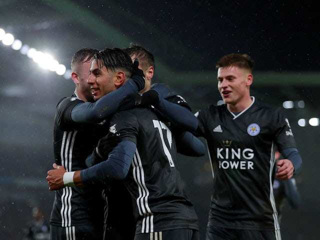 Leicester City's Ayoze Perez celebrates scoring their first goal with teammates on November 23, 2019