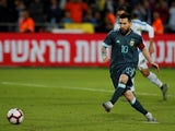 Argentina's Lionel Messi scores their second goal from the penalty spot on November 18, 2019