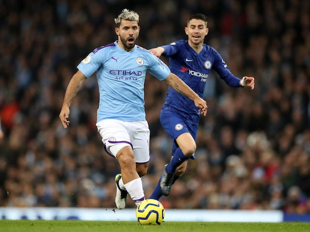Manchester City's Sergio Aguero in action with Chelsea's Jorginho in the Premier League on November 23, 2019