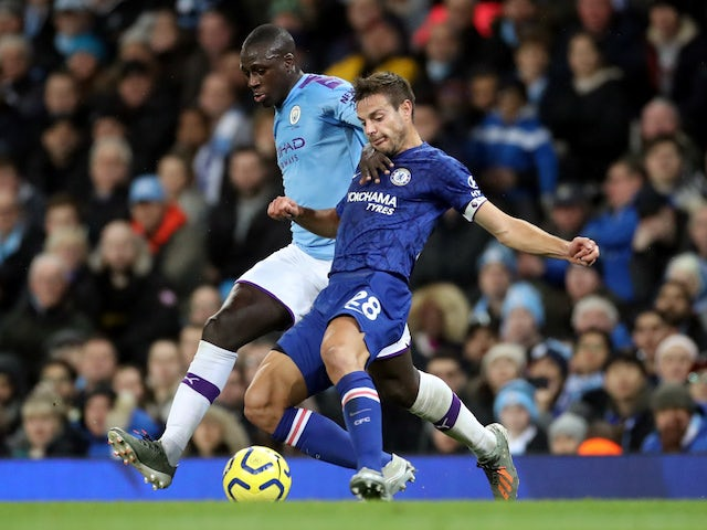 Chelsea's Cesar Azpilicueta in action with Manchester City's Benjamin Mendy in the Premier League on November 23, 2019