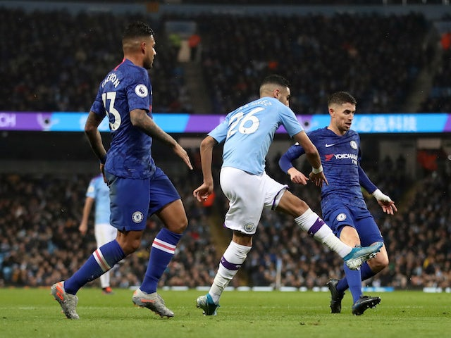 Manchester City's Riyad Mahrez scores against Chelsea in the Premier League on November 23, 2019