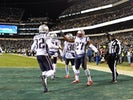 New England Patriots free safety Devin McCourty (32) and cornerback J.C. Jackson (27) celebrate in the end zone during the fourth quarter against the Philadelphia Eagles at Lincoln Financial Field on November 16, 2019