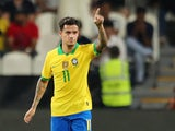 Philippe Coutinho celebrates scoring for Brazil on November 19, 2019