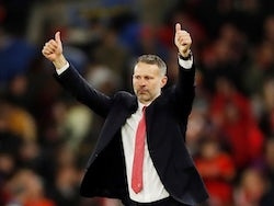 Wales manager Ryan Giggs gestures to the fans after the match on November 19, 2019