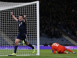 Scotland's John McGinn celebrates scoring their third goal on November 19, 2019