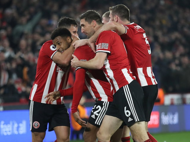 Sheffield United's Lys Mousset celebrates scoring their second goal with teammates on November 24, 2019