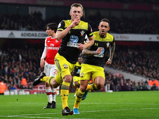 Southampton's James Ward-Prowse celebrates scoring their second goal on November 23, 2019