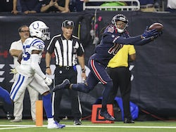 Houston Texans wide receiver DeAndre Hopkins (10) makes a reception for a touchdown as Indianapolis Colts cornerback Pierre Desir (35) defends during the fourth quarter at NRG Stadium on November 22, 2019