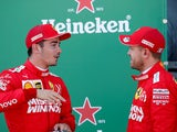 Ferrari's Sebastian Vettel and Charles Leclerc after qualifying in October 2019