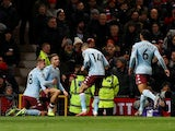 Aston Villa's Jack Grealish celebrates scoring their first goal with teammates on December 1, 2019