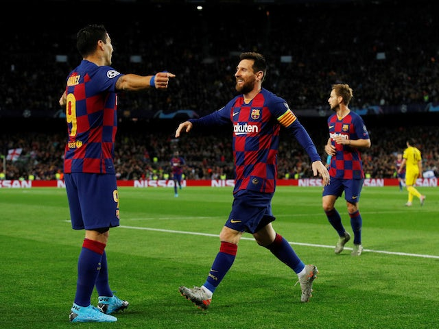 Luis Suarez and Lionel Messi celebrate a goal during Barcelona's Champions League clash with Borussia Dortmund on November 27, 2019
