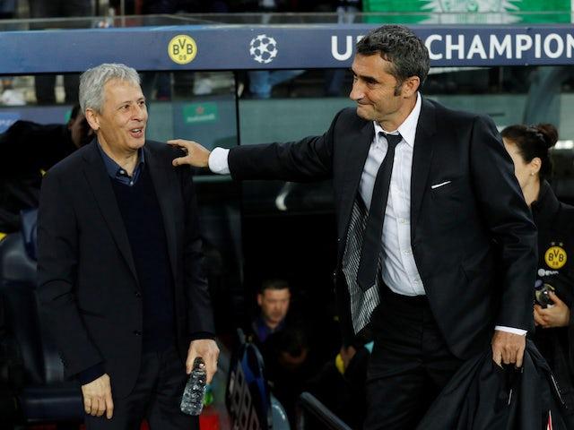 Barcelona boss Ernesto Valverde and Borussia Dortmund manager Lucien Favre on November 27, 2019