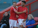 Macauley Bonne celebrates equalising for Charlton on November 30, 2019