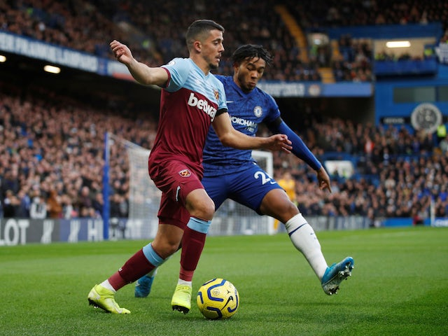West Ham United's Pablo Fornals in action with Chelsea's Reece James in the Premier League on November 30, 2019