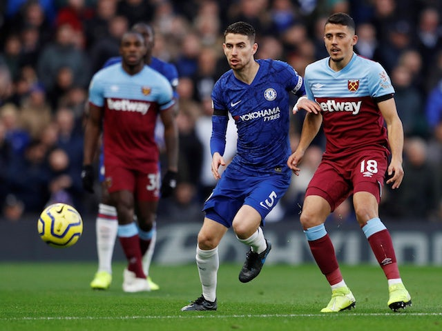 Chelsea's Jorginho in action with West Ham United's Pablo Fornals in the Premier League on November 30, 2019
