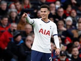 Dele Alli celebrates scoring the opener for Spurs on November 30, 2019