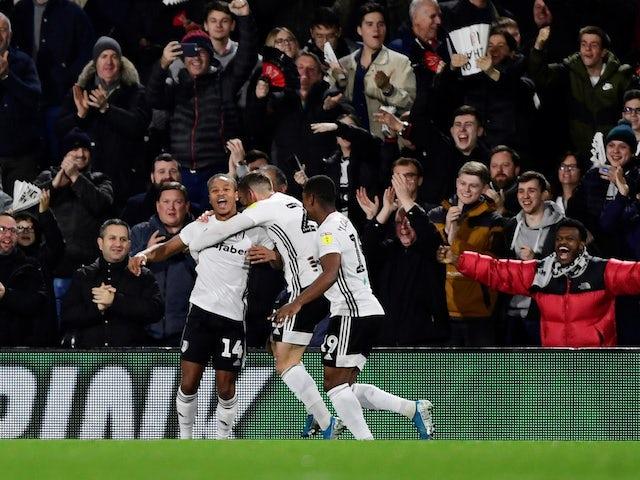 Fulham's Bobby Decordova-Reid celebrates scoring their first goal on November 26, 2019
