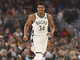 Milwaukee Bucks forward Giannis Antetokounmpo (34) reacts after scoring during the first quarter against the Utah Jazz at Fiserv Forum on November 26, 2019