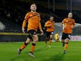 Hull City's Jarrod Bowen celebrates scoring their first goal against Preston on November 27, 2019