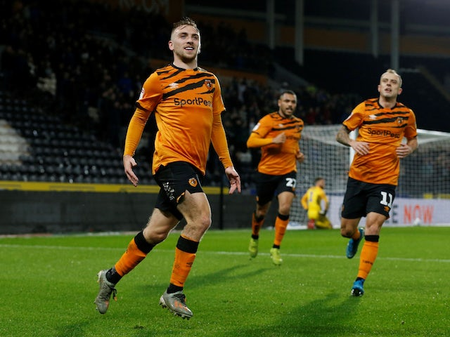 Hull City's Jarrod Bowen celebrates scoring their first goal against Preston on November 27, 2019