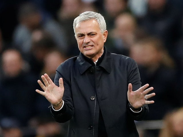 Spurs boss Jose Mourinho gesticulates on November 30, 2019
