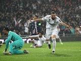 Karim Benzema celebrates scoring for Real Madrid against Paris Saint-Germain in the Champions League on November 26, 2019.