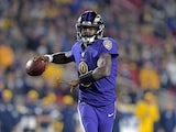 Baltimore Ravens quarterback Lamar Jackson (8) throws a pass against the Los Angeles Rams during the first half at Los Angeles Memorial Coliseum on November 26, 2019