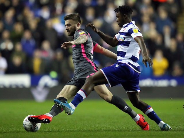 Leeds United's Stuart Dallas in action with Reading's Ovie Ejaria on November 26, 2019