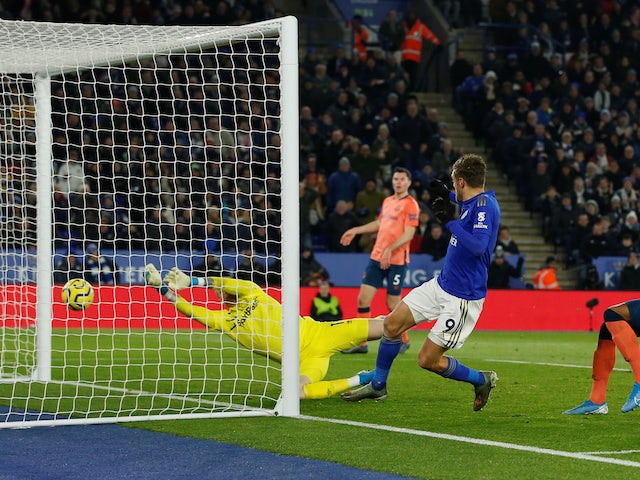 Leicester City's Jamie Vardy scores their first goal against Everton on December 1, 2019