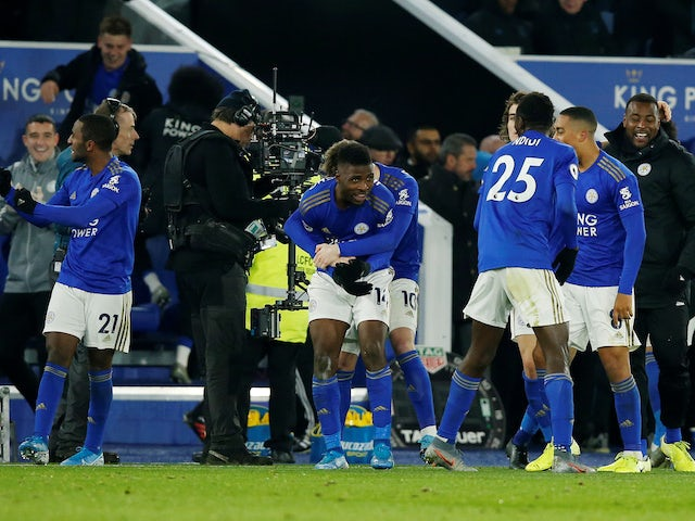Leicester City's Kelechi Iheanacho celebrates scoring their second goal with teammates against Everton on November 1, 2019