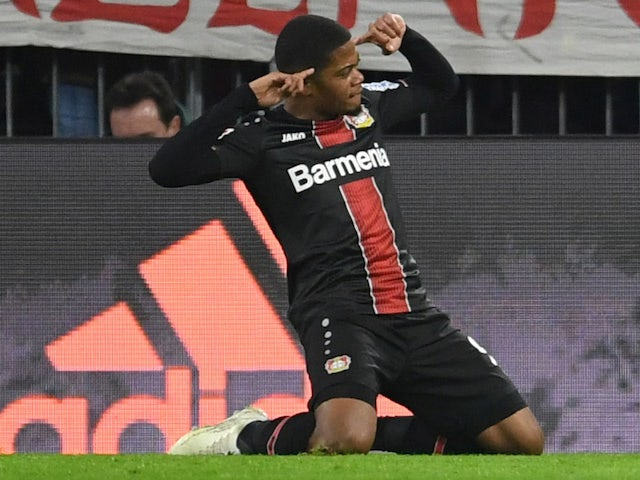 Leon Bailey celebrates scoring for Bayern Leverkusen on November 30, 2019