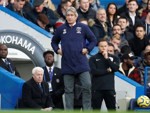 West Ham United boss Manuel Pellegrini pictured at Stamford Bridge on November 30, 2019