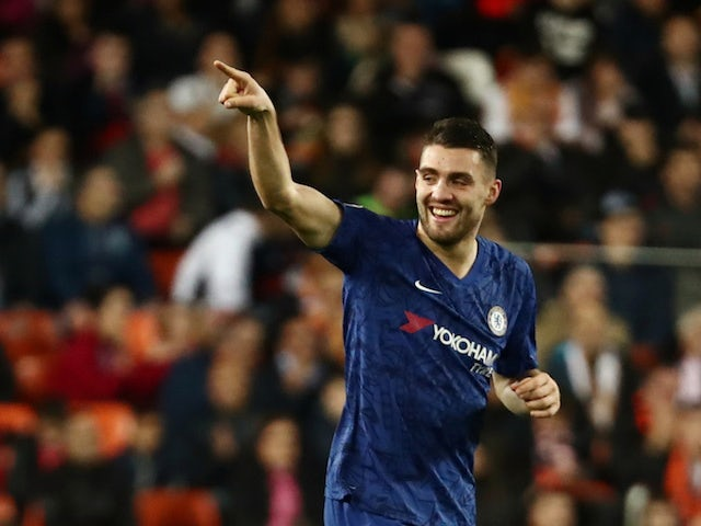 Chelsea's Mateo Kovacic celebrates scoring their first goal on November 27, 2019