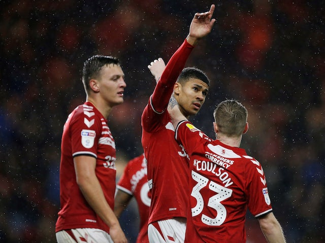 Middlesbrough's Ashley Fletcher celebrates scoring their first goal against Barnsley on November 27, 2019