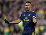 Pierre-Emerick Aubameyang celebrates scoring for Arsenal on December 1, 2019